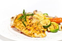Free Grilled Chicken Breast With Vegetables Royalty Free Stock Image - 36129226