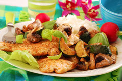 Grilled chicken breast with zucchini and mushrooms Stock Image