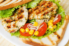 Grilled chicken breasts. With tomato, sweet corn and toasted bread Royalty Free Stock Image