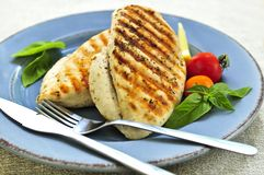 Grilled chicken breasts. On a plate with fresh vegetables Stock Images