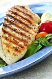 Grilled chicken breasts. On a plate with fresh vegetables Royalty Free Stock Photos