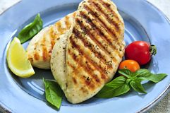 Grilled chicken breasts. On a plate with fresh vegetables Stock Image