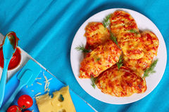 Grilled Chicken breasts coated with cheese Stock Photography
