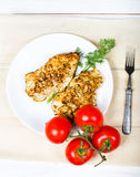 Grilled chicken breasts fillet with fresh vegetables Stock Image