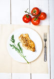 Grilled chicken breasts fillet  with vegetables Royalty Free Stock Images