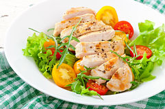Grilled chicken breasts and fresh salad Royalty Free Stock Image