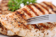 Grilled chicken breasts with fresh vegetables Stock Photo