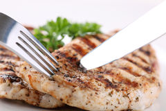 Grilled chicken breasts with fresh vegetables Stock Photos