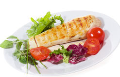 Grilled chicken breasts with vegetables Stock Photo