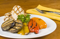 Grilled Chicken Breasts and Vegetables Royalty Free Stock Photo