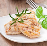 Grilled chicken breasts and vegetables Royalty Free Stock Photography