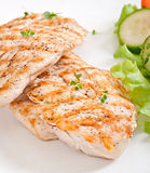 Grilled chicken breasts and vegetables Royalty Free Stock Images