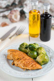 Grilled chicken with Brussels sprouts Royalty Free Stock Images