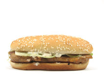 Grilled chicken burger. In isolated white Stock Photo