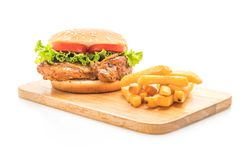Grilled chicken burger. Isolated on white background Royalty Free Stock Photos