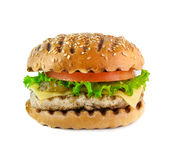 Grilled chicken burger isolated on white background. Grilled burger with salad on white background Royalty Free Stock Image