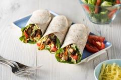 Grilled chicken burrito wraps Stock Photos