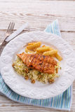 Grilled chicken, cabbage salad with nuts and chips Royalty Free Stock Photo