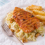 Grilled chicken, cabbage salad with nuts and chips Royalty Free Stock Images