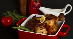 Grilled chicken for Christmas dinner Royalty Free Stock Images