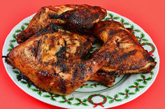 Grilled Chicken Christmas Royalty Free Stock Photos