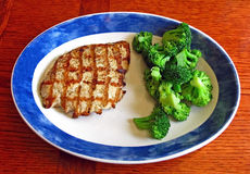 Grilled Chicken and Cooked Broccoli. A Healthy Plate of Grilled Chicken and Cooked Broccoli stock photos