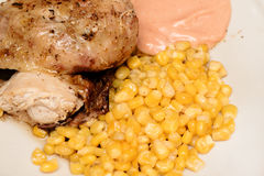 Grilled chicken with corn and hot sauce Stock Photography