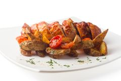 Grilled chicken with a crispy crust, with BBQ sauce and baked po Royalty Free Stock Images