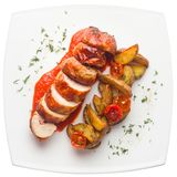 Grilled chicken with a crispy crust, with BBQ sauce and baked po Stock Photos