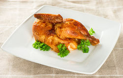 Grilled chicken decorated with green parsley Stock Image