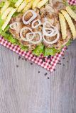 Grilled chicken drumstick on fresh lettuce,  fries and onions Royalty Free Stock Images