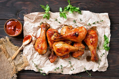 Grilled chicken drumstick Royalty Free Stock Images
