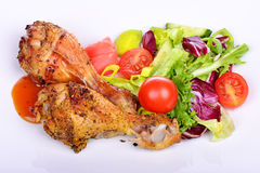 Grilled chicken drumstick with vegetables Royalty Free Stock Photo
