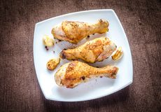 Grilled chicken drumsticks Stock Photos