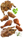 Grilled Chicken,Duck And Turkey Meat Stock Photography