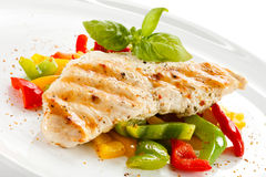 Grilled chicken fillet Stock Photos