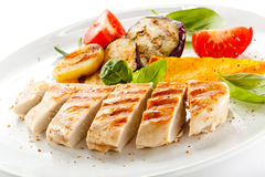 Grilled chicken fillet Stock Images