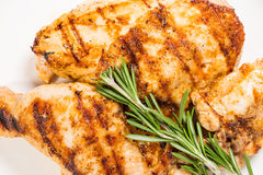 Grilled Chicken Fillet And Legs With Rosemary. Royalty Free Stock Image