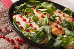 Grilled chicken fillet with arugula and pomegranate closeup. horizontal. Grilled chicken fillet with arugula and pomegranate on a plate close-up. horizontal stock photography