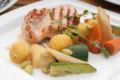 Grilled chicken fillet with boiled vegetables royalty free stock photo