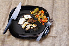 Grilled chicken fillet, breast with cooked vegetable on plate Royalty Free Stock Image
