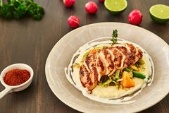Grilled Chicken Fillet Is Cut Into Slices On A Cushion Of Mashed Potatoes With Vegetables - Onion, Garlic, Pepper, Cabbage, Radish Royalty Free Stock Photos