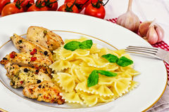 Grilled Chicken Fillet with Pasta Bows Stock Images