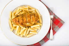 Grilled Chicken Fillet with Pasta Stock Photo