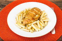 Grilled Chicken Fillet with Pasta Royalty Free Stock Photography
