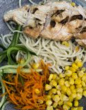 Grilled chicken fillet stock images