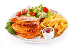 Grilled chicken fillet with potatoes Stock Photo