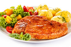 Grilled chicken fillet with potatoes Stock Images
