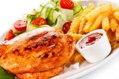 Grilled chicken fillet with potatoes Stock Image