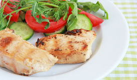 Grilled chicken fillet with salad Royalty Free Stock Photo